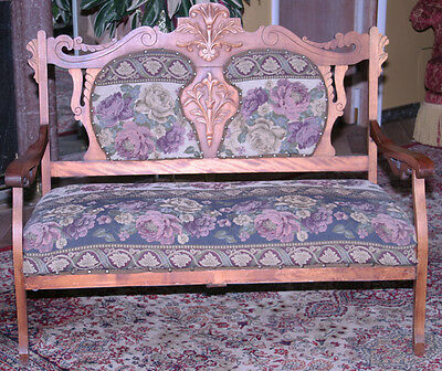 Antique Eastlake Hand Carved Victorian Parlor Settee