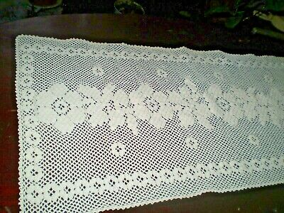 Stunning Vintage Hand-Knitted  Tablecloth