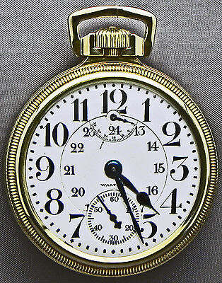 TRULY AMAZING Waltham Wind Indicator 23 Jewel RR Grade PocketWatch_24-HOUR DIAL!