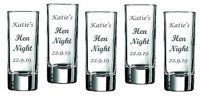 x5 Personalised Engraved Shot Glass Birthday Gift Stag Hen Night Party by jevge