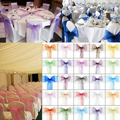 """200 Organza Chair Cover Sash Bows 8""""x108"""" 30 Colors Extra Wide Wedding **SALE**"""