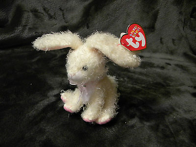 TY Basket Beanie Baby - MARSHMALLOW the Bunny (4 inch) Has Both Tags.