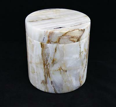 Genuine Solid Marble Round White & Earth Colours Adult Memorial Cremation Urn