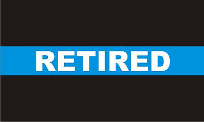 """Thin Blue Line Retired Police Decal / Sticker 3""""x5"""" #128 Buy 3 Get 1 Free"""