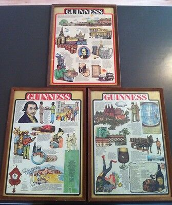 3 X GUINNESS Framed Posters Ale Bar Pub Man Cave Trivia Information