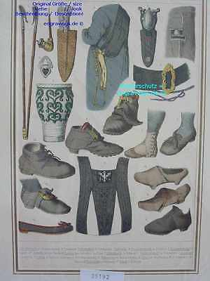 25192-Schuhe-Shoe-Schuster-Pfeife-Stab-Nadel-etc-Lithographie-Lithography-1870