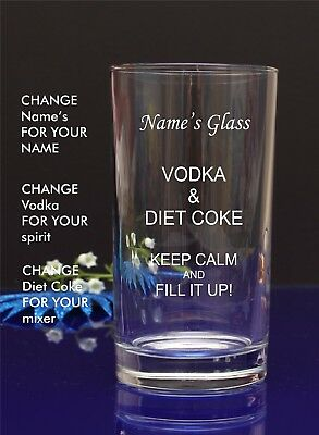 Personalised Engraved Hi ball spirit VODKA AND DIET COKE glass Birthday by jevg6