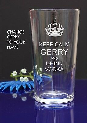 "Personalised Engraved Pint Glass""KEEP CALM AND DRINK VODKA"" Christmas Birthday10"