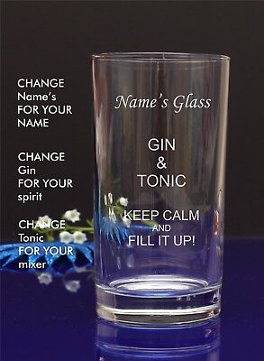 Personalised Engraved GIN AND TONIC Hi ball mixer spirit glass by jevge