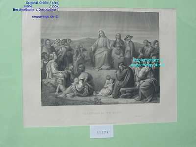 31574-Bibel-Bible-Jesus-Christi-Christus-SERMON MOUNT-Stahlstich-Steel engraving
