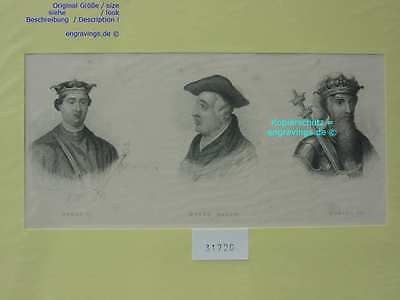 31720-Porträts-Portraits-HENRY II-BACON-EDWARD III-Stahlstich-Steel engraving