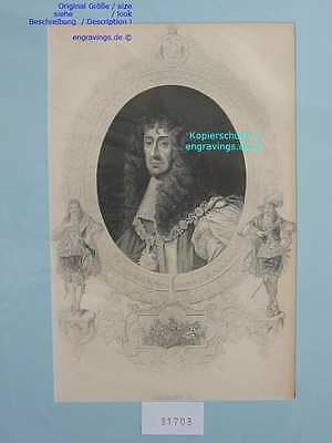 31703-Porträts-Portraits-CHARLES II-Stahlstich-Steel engraving-1860