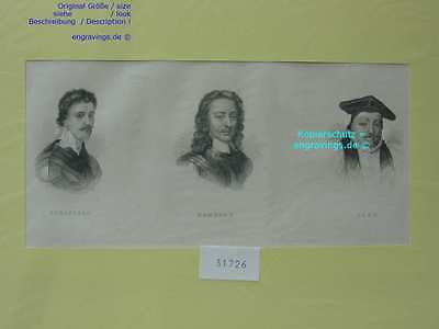 31726-Porträts-Portraits-STRAFFORD-HAMPDEN-LAUD-Stahlstich-Steel engraving-1850