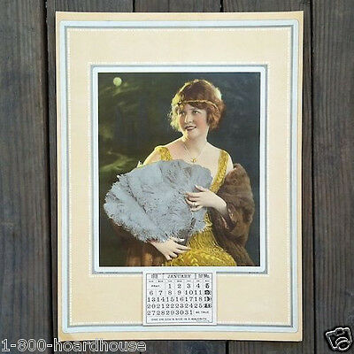 Antique Original FLAPPER WITH FAN Full Padded 12-Month Calendar 1918 Unused NOS