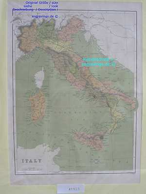 41925-Italien-Italy-Italia-KARTE-MAP-Landkarte-Lithographie-Lithography-1885