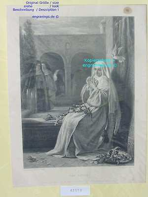 42519-Bibel-Bible-NONNE-NOVICE-24x18 cm-Stahlstich-Steel engraving-1860
