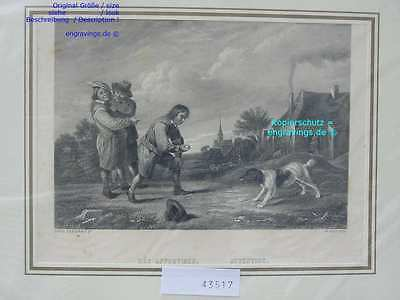43517-Hunde-Dogs-APPORTIREN-ATTENTION-Abrichten-Stahlstich-Steel engraving-1870