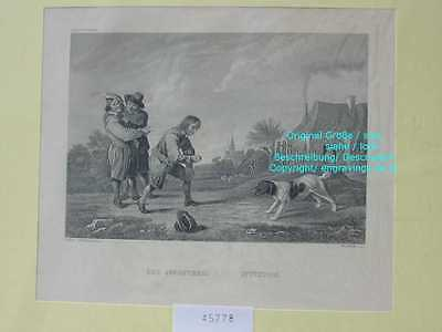 45778-Hund-Dog-Hunde-Dogs-APPOATIREN-ATTENTION-Stahlstich-Steel engraving-1870