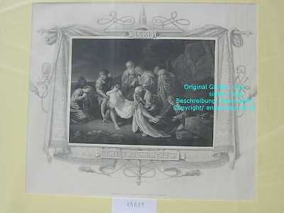 45831-Bibel-Bible-Jesus-CHRIST-THE ENTOMBMENT-Stahlstich-Steel engraving-1865
