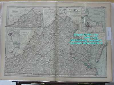 46350-AMERIKA-USA-UNITED STATES-VIRGINIA-KARTE-MAP-1902-Lithographie-Lithography