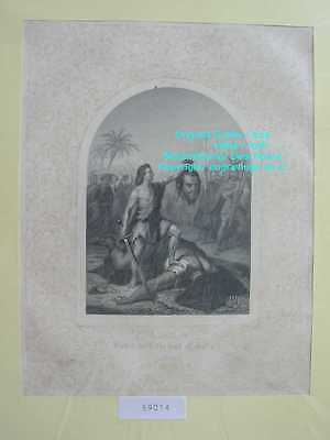 59014-Bibel-Bible-David-Goliath-mit Ornament-Stahlstich-Steel engraving-1860