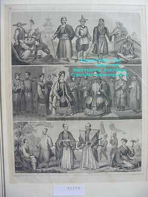 62278-Völker-Asia-China-Kaiser-Korea-Tibet-Japan-Stahlstich-Steel engraving-1849