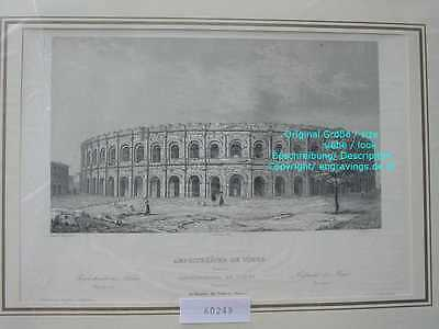 60249-Frankreich-France-Française-Nimes-Amphitheater-Stahlstich-Steel engraving