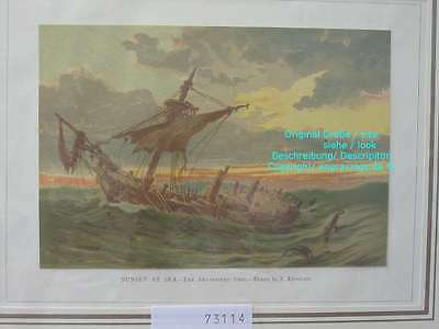 73114-Seefahrt-Schiffe-Ship-Marine-Abandoned Ship-Lithographie-Lithography