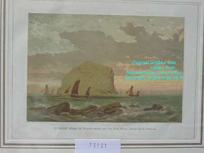 73121-Seefahrt-Schiffe-Ship-Marine-Fishing Bass Rock-Lithographie-Lithography