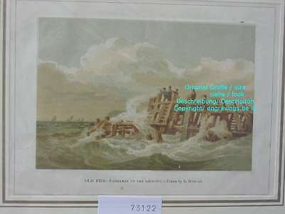 73122-Seefahrt-Schiffe-Ship-Marine-Old Pier Fishermen-Lithographie-Lithography