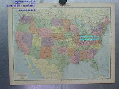 Nordamerika-North America-United States-KARTE-MAP-47x35-Lithographie-Lithography