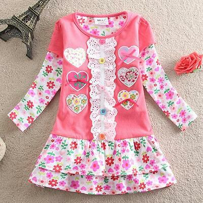 Girls' Kids Spring Summer Fashion Pretty Long Sleeve Dress 2-6Years