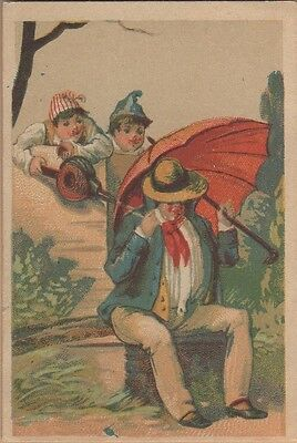 Victorian Trade Card-Lervilles Chicory-Kids Using Water Bellows-Man w/ Umbrella