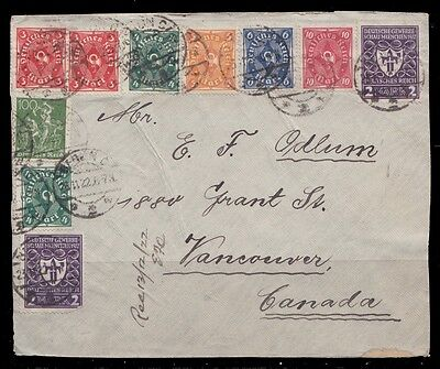 1922 Germany Registered Multifranked Face Cover 23.11.1922 Berlin To Vancouver