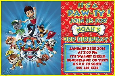 Paw Patrol Birthday Invitations 8 W Envelopes Address Labels Seals Personalized
