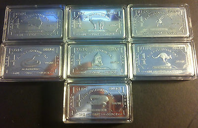 "(Set) 7 x 1 Troy OZ 999.0 Pure Zinc ""AUSTRALIANA SERIES"" Ingots"
