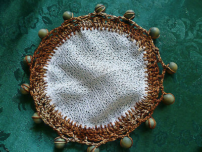 VINTAGE 70's retro WOODEN  BEADED JUG COVER  BROWN  CROCHETED EDGE
