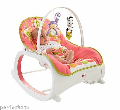 Fisher Price Infant To Toddler Rocker Bouncer Vibrating Comfort Play Seat Floral