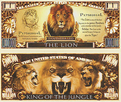 RARE: The Lion $1,000,000 Novelty Note, Wild Animals Buy 5 Get one FREE .