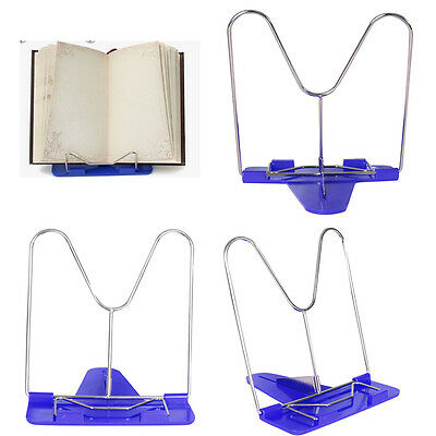 Adjustable Cook Book Stand Iron Metal Kitchen Recipe Stand Pad Mount Holder Blue