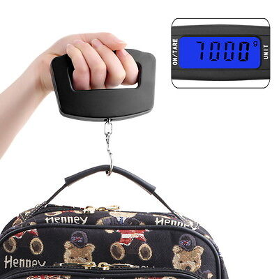 50Kg/10g Digital Electronic Portable Hanging Luggage Weight Wide Hook Scale KK#