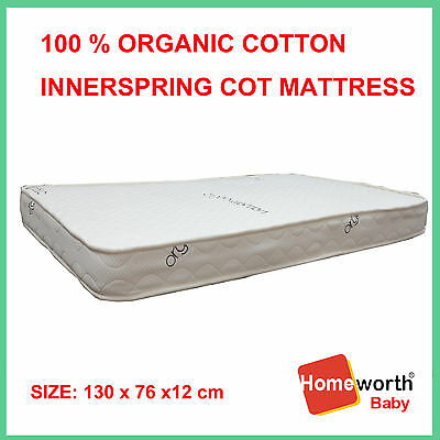 NEW 100% CERTIFIED ORGANIC COTTON INNERSPRING COT CRIB BABY BED MATTRESS 130x76