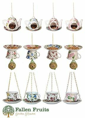 Fallen Fruits Best for Birds China Tea Cup or Teapot with Saucer Bird Feeders