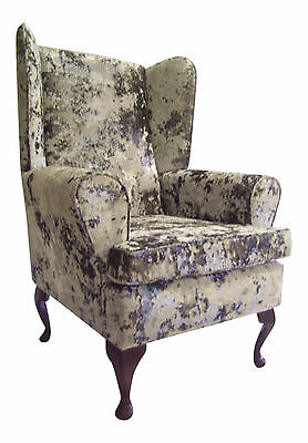 Fireside / Wing Back  / Queen Anne Chair Mercury-Silver Crushed Velvet Fabric