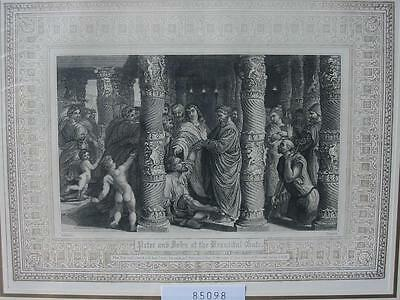 85098-Bibel-Bible-Peter & John-Ornament-Stahlstich-Steel engraving