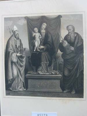 85579-Bibel-Bible-Madonna auf dem Throne-Stahlstich-steel engraving