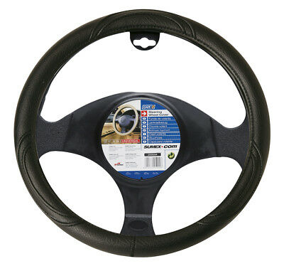 Car Steering Wheel Cover Glove Black PVC 37-39cm Universal Easy Fitting Interior