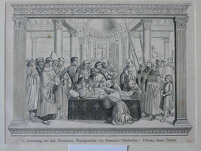 88200-Heiliger Franciscus-Holzstich-Wood engraving