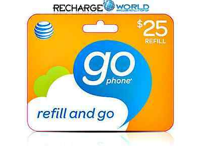AT&T Go phone $25 Refill. FASTEST REFILL. Credit applied DIRECTLY to PHONE