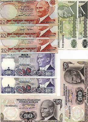 TURKEY Europe set of nine different signature variety  XF-aUNC banknotes